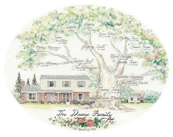 Custom Illustrated Family Trees