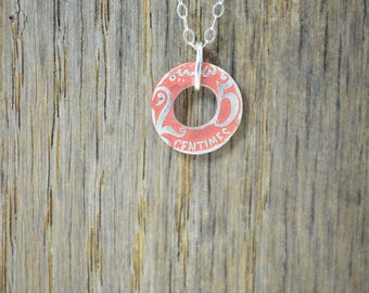 Moroccan Coin Necklace, Dusty Rose Coin Necklace, Coin Art, Morocco, Silver Coin, Moroccan Art, Boho Necklace, Two-Sided, Coin Charm, Charm