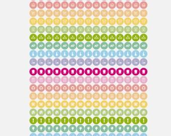"300 TINY functional stickers, 0.25"" planner stickers kit set, pastel stickers, daily chore sticker, eclp happy planner filofax kikki.k"