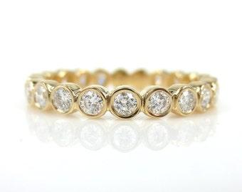 2.8mm Bezel Set Round Diamond Eternity Band - 18k Yellow Gold - Wedding Band - Stacking Band