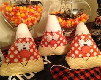 Halloween Candy Corn, Set of Three Candy Corn Ornaments, Ornies, Bowl Filler, Handmade Candy Corn
