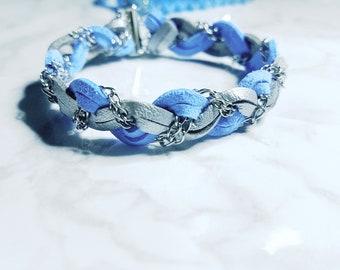 Ice blue braided bracelet