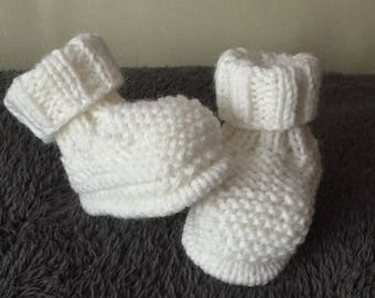 Hand knitted baby booties newborn-3 months white blend mixed acrylic yarn