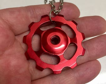 Cyclist Gift jewellery/ Bike rider necklace / upcycled bicycle part pendant / derailleur wheel bike Jewelry