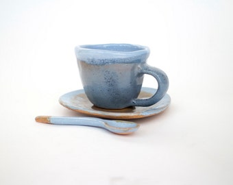Ceramic blue coffee tea cup with plate  handmade, coffee mug, ceramic mug, blue mug, , Stoneware mug, ceramics and pottery, céramique