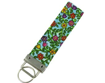 Personalized Key Chain / Key Fob Colorful Flowers Floral with Optional Initials