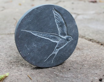 Circular Swallow sculpture. Personalize this piece! 4.5'' diameter.  Paperweight. Slate sculpture, natural stone, one off piece