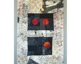 Art Quilt Collage Wall Hanging Moon Rising Abstract Expressionist Mid Century Modern Embroidery Silkscreen
