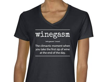 Women's Winegasm V-Neck T-Shirt