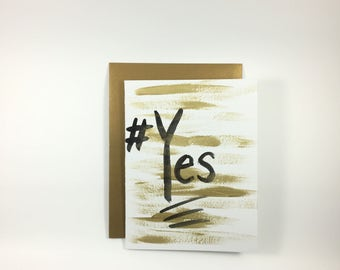 YES -Hash Tag - Hand Painted Greeting Card - Blank