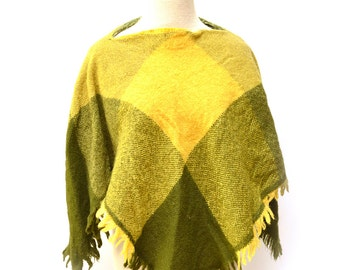 60s Green Handwoven Poncho Shawl Knit Multicolor Patchwork OSFM