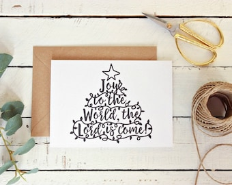 Rustic Christmas Card Pack, Joy to the World Christmas Card Set, Christmas Greeting Card, Xmas Card, Seasons Greetings, Set of 10