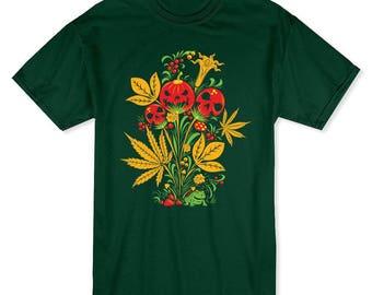 Citrouille psychédélique et des têtes de mort Halloween plante hommes forêt T-shirt vert