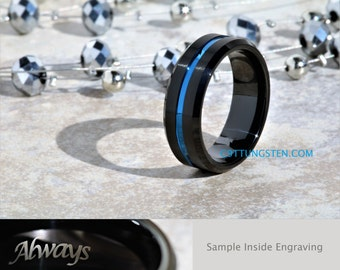 8MM Mens Black Satin Tungsten With Blue Groove Wedding, Engagement, Anniversary Ring, Custom Laser Engraved Inside