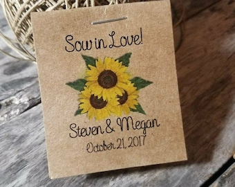 THE Mini Rustic SUNFLOWERS Wedding Reception Favors Bridal Shower Favors Seed Packets Personalized Party Favors Wedding Favors Shabby Chic