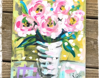 """Pink Peonies Abstract Flower Painting 8"""" x 10"""" Ready to Ship YelliKelli"""