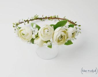 Flower Crown, Boho Flower Crown, Cream Ranunculus Crown, Peony Crown, Flower Crown, Boho Crown, White, Cream, Greenery, Wedding Crown