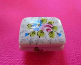 Vintage Hand Painted LIMOGES Porcelain Square Trinket Box
