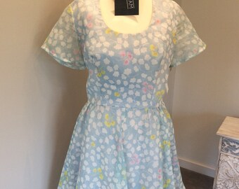 Vintage 80s floral print dress, UK size 10