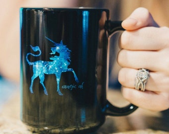 Magic Af Unicorn Mug  Black  15Oz