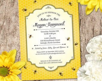 Honeybee Baby Shower Invitation, Printable, Evite or Printed (US Only) Invitations