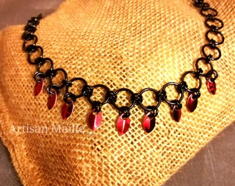 Handmade chainmaille necklace- black with tiny red scales