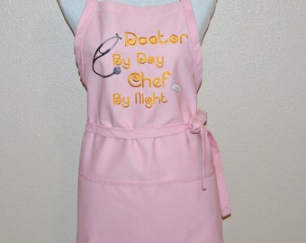 Apron For Female Doctor, Physician, Custom Personalized, With Chef Hat, Stethoscope, Personalize With Name, Ready To Ship, TODAY, AGFT 710