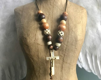 Bohemian Style Vintage Mother of Pearl Crucifix Assemblage Necklace