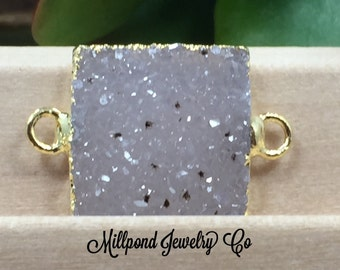 Druzy, Square Connector, Druzy Connector, Druzy, Drusy, 18K Gold Connector, One Available of Each, Natural, Light, PG0926J
