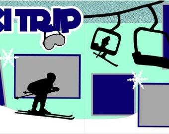 "Scrapbook 2 Page Layout ""Ski Trip"""
