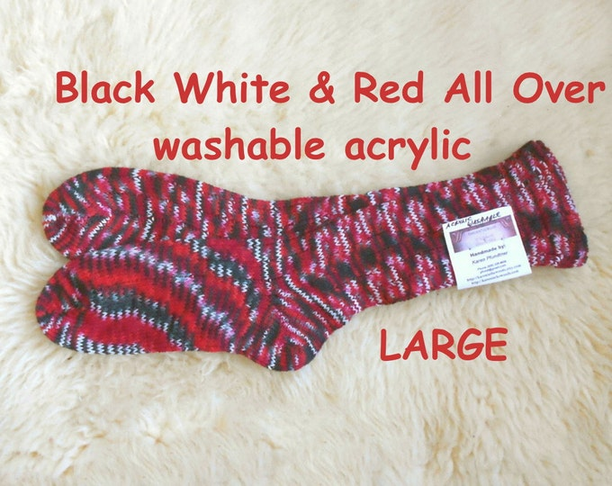 Black White and Red All Over Socks --- washable acrylic  --- LARGE