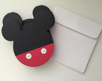 Mickey Mouse head shaped birthday invitations-set of 8