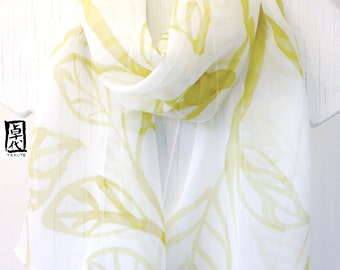 Handpainted Silk Scarf White, Olive Green Zen Leaves, Green Silk Scarf. Japanese Scarf. Silk Chiffon Scarf. 10x58 inches. Made to order.
