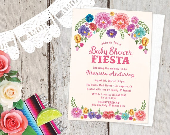 Mexican Fiesta Theme Baby Shower Invitations Spanish Floral