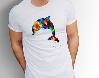 Dolphin T-shirt, Dolphin Men's T-shirts, Dolphin T-shirt for men, Dolphin tee, Summer Party t-shirt, Dolphin Sea Tshirt, Dolphin shirt