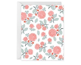 Rose Pattern Blank Notecard - Floral Pattern Card - Single Card - Notecard Blank Inside