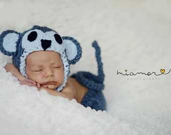 Baby monkey hat with matching diaper cover earflaps and tail- Newborn