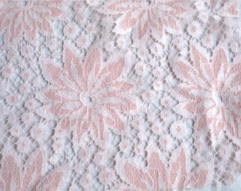 Vintage Fabric - Pink and White Flower Lace - By the Yard