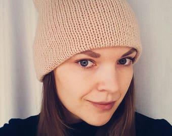 Double knit hat beige light brown women hat slouchy beanie knit double beanie winter slouchy beanie double knit women hat beige knit hat