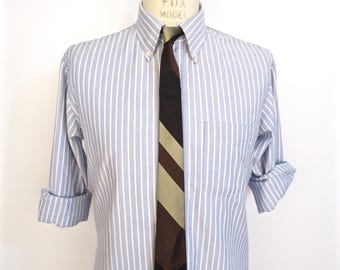 1960s Bronze & Black Metallic Stripe Tie / men's vintage striped iridescent brown white silver gold Mad Men necktie