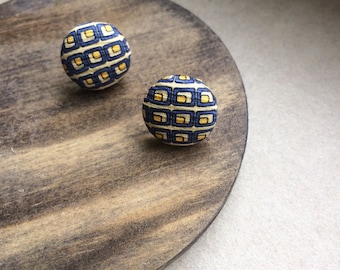 stud Earrings, Fabric Covered Button Earrings