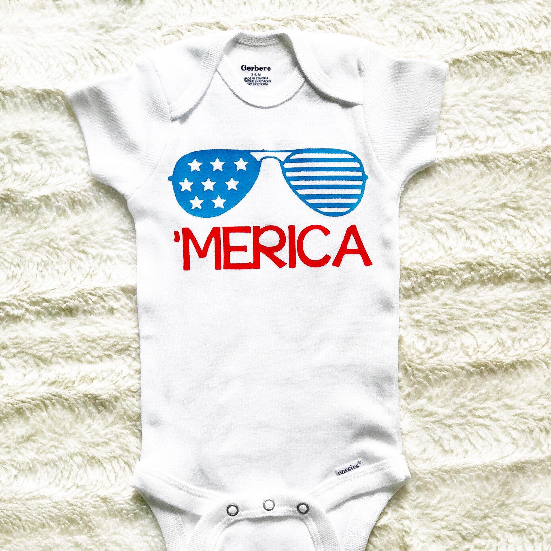 Memorial Day Baby outfit 4th July Baby esies Merica esies