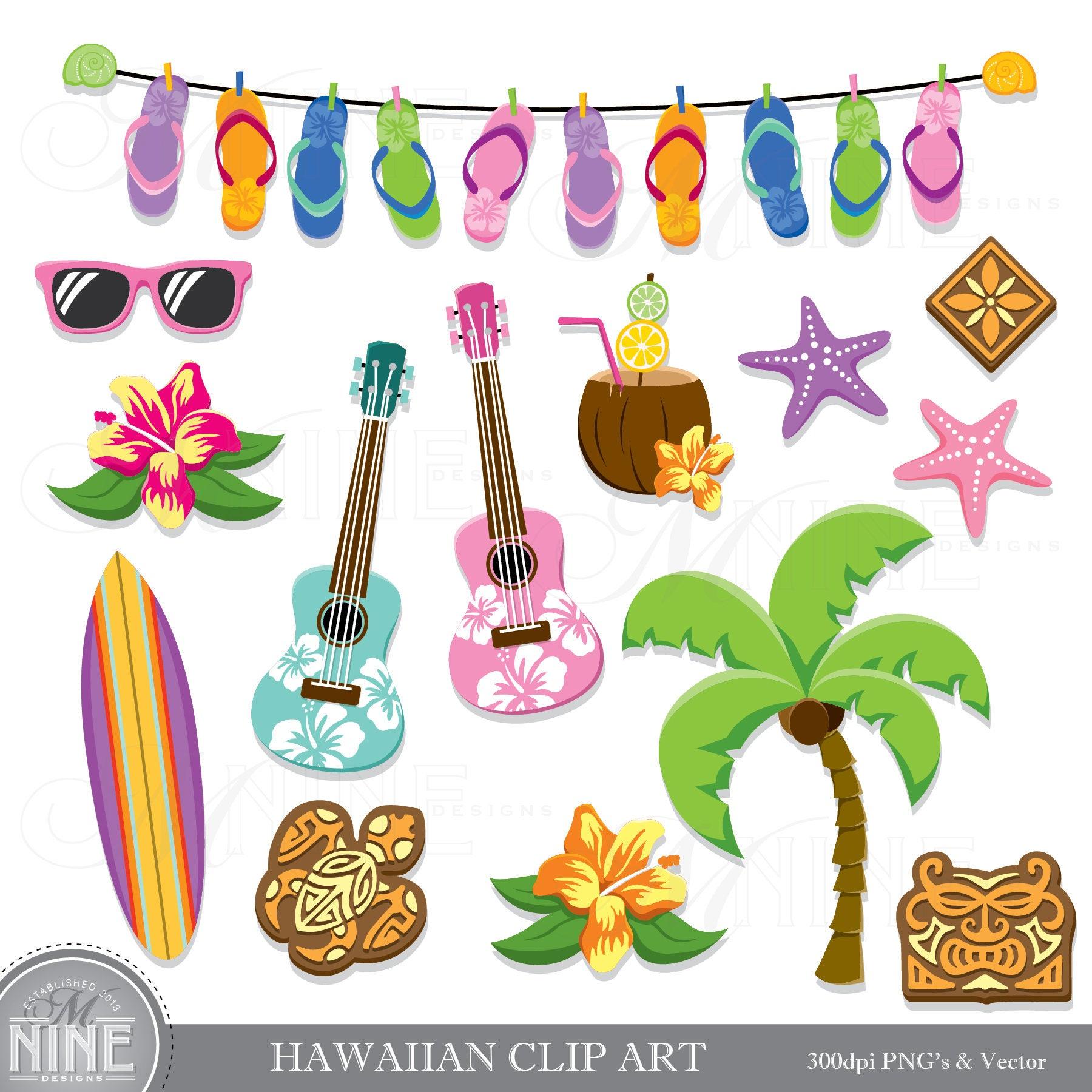 HAWAIIAN Clip Art / Hawaii Theme Clipart Downloads / Luau Clip