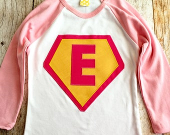 Pink and white with fuchsia and yellow Superhero needs a Cape Birthday shirt superman monogram personalized custom