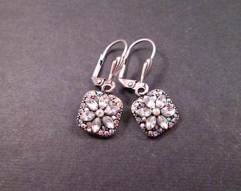 Rhinestone Flower Earrings, Silver Dangle Earrings, FREE Shipping U.S.
