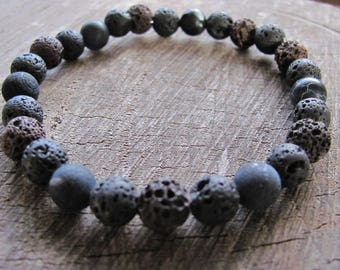 Men's Beaded Bracelet. Lava and Agate Bracelet. Earthy Bracelet