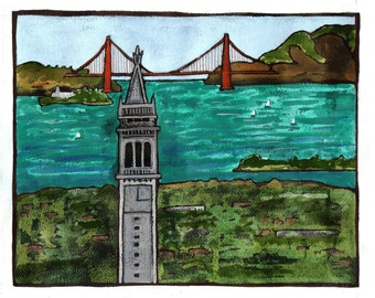 UCBerkeley Campanile Golden Gate Bridge Digital Giclée Wall Art Print