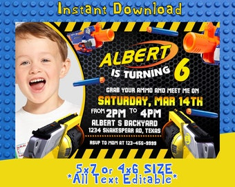 Nerf Invitation, Nerf Birthday, Nerf Party, Nerf Card, Nerf Invite, Nerf Birthday Party, Nerf Birthday Invitation,F0227