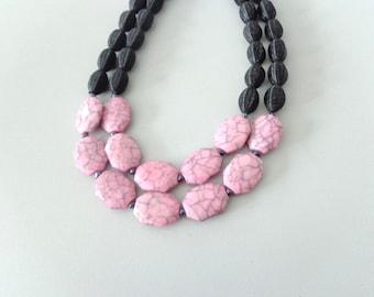 Pink Purple black statement necklace