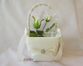 Flower girl basket, Ivory, White or Champagne flower girl basket, Wedding basket, Lace flower girl basket, Wedding decorations